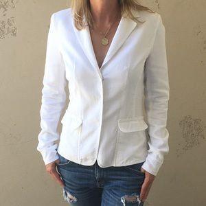 ELIE TAHARI Stretch Mixed Media White Jacket